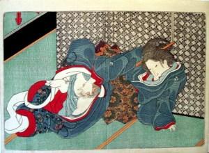 Lukisan Jepang yang melukiskan wanita sedang melakukan masturbasi